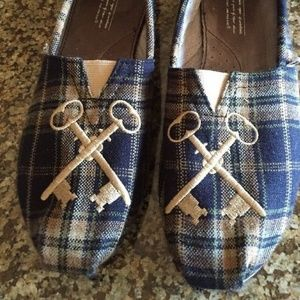 TOMS Embroidered Key Plaid Slip-On Shoes Flats
